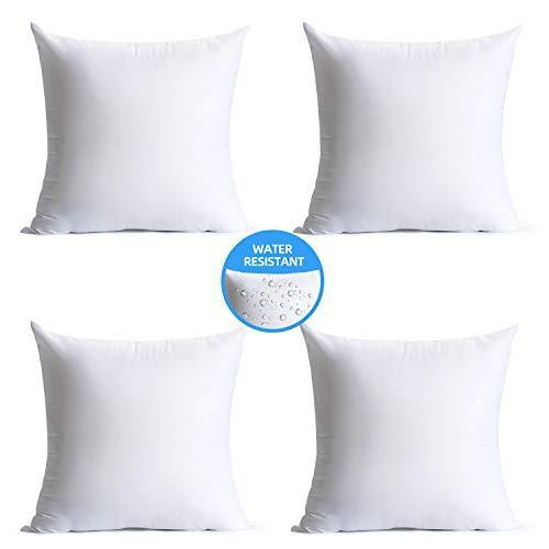 Calibrate Timing 18 x 18 Pillow Inserts Outdoor, Water Resistant Hypoallergenic Square Decorative Throw Pillow Cushion Stuffer Forms Couch Sham - 18 x 18 inches Pack of 4 - PHUNUZ