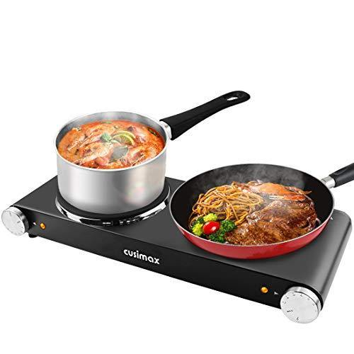 CUSIMAX 1800W Double Hot Plates, Cast Iron hot plates, Electric Cooktop, Hot Plates for Cooking Portable Electric Double Burner, Black Stainless Steel Countertop Burner, Easy to Clean-Upgraded Version - PHUNUZ