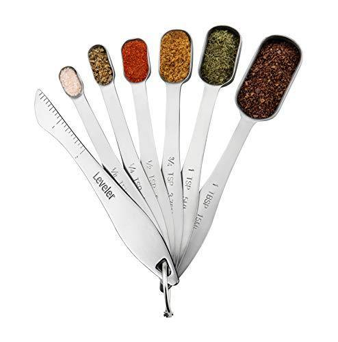 Spring Chef Heavy Duty Stainless Steel Metal Measuring Spoons for Dry or Liquid, Fits in Spice Jar, Set of 6 with bonus Leveler - PHUNUZ
