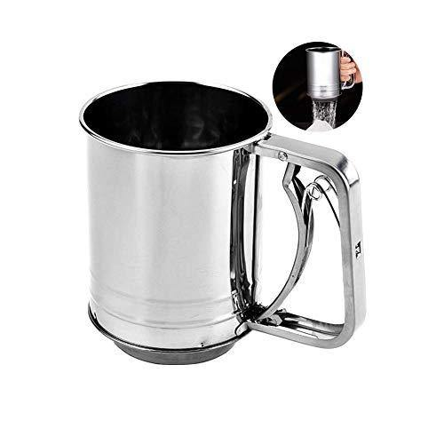 Snowyee Flour Sifter, for Baking Stainless Steel 3 Cup Double Layers Sieve with Hand Press Design (1 Piece) - PHUNUZ