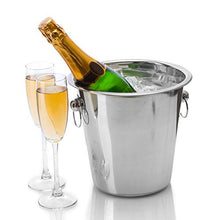 Load image into Gallery viewer, Tiger Chef Wine Bucket Set - Champagne Bucket - Beverage Tub: Includes Two 4 Quart Stainless Steel Buckets and Bonus Corkscrew