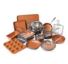 Load image into Gallery viewer, Gotham Steel Cookware + Bakeware Set with Nonstick Durable Ceramic Copper Coating – Includes Skillets, Stock Pots, Deep Square Fry Basket, Cookie Sheet and Baking Pans, 20 Piece, Graphite