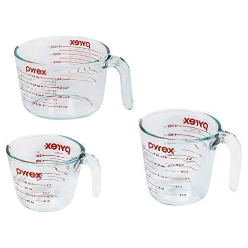 Pyrex Glass Measuring Cup Set (3-Piece, Microwave and Oven Safe),Clear - PHUNUZ