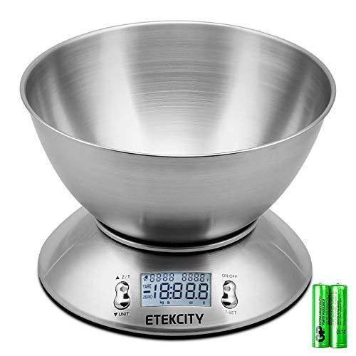 Etekcity Food Scale with Bowl, Timer, and Temperature Sensor, Digital Kitchen Weight for Cooking and Baking, 2.06 QT, Silver - PHUNUZ