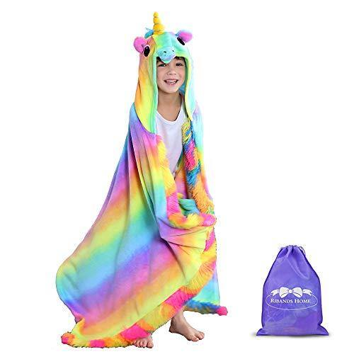RIBANDS HOME Hooded Unicorn Blanket| Silky Soft Wearable Hoodie Blanket for Kids, Toddlers, Children| Animal Hoodie Cloak, Throw Blanket w/Horn & Mane| Rainbow & Stars Variations - Primitive Rainbow - PHUNUZ