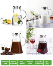Load image into Gallery viewer, SUSTEAS 51 ounces glass pitcher with lid iced tea pitcher water jug hot cold water wine coffee milk and juice beverage carafe