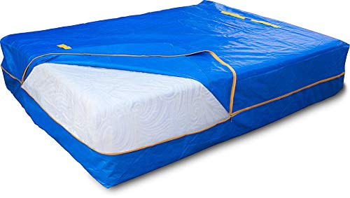 LEVARARK Mattress Bag For Moving and Storage | Queen Size Double Cover | Heavy Duty Tarp Plus 4 Mil Thick Plastic Mattress Protector | Sturdy Reuasable Material | 8 Handles and Strong Zipper Closure