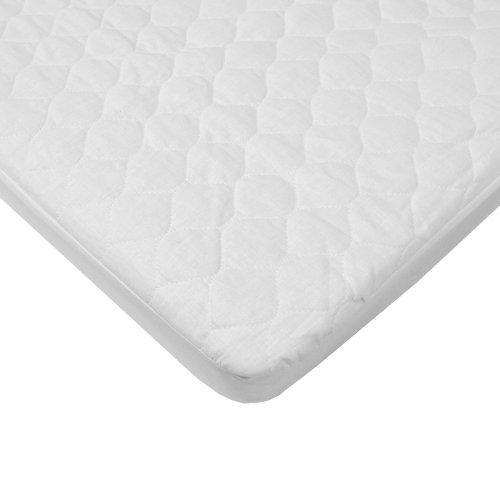 American Baby Company Waterproof Quilted Cotton Bassinet Size Fitted Mattress Pad Cover, White, for Boys and Girls - PHUNUZ