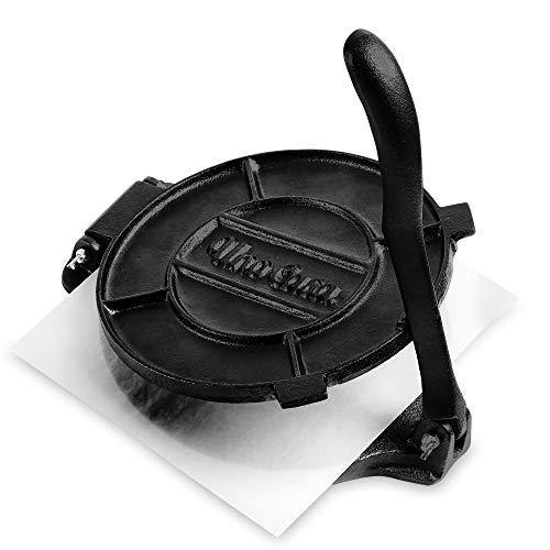 Uno Casa Cast Iron Tortilla Press - 8 Inch, Pre-Seasoned Tortilla Maker with 100 Pcs Parchment Paper - PHUNUZ