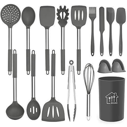 Silicone Cooking Utensil Set,Kitchen Utensils 17 Pcs Cooking Utensils Set,Non-stick Heat Resistant Silicone,Cookware with Stainless Steel Handle - Grey - PHUNUZ