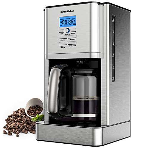12 Cup Programmable Stainless Steel Drip Coffee Maker Machines Built in Hot Preservation Board Coffee Pot with Glass Carafe Permanent Filter Basket 60 Oz-(Light Model)-NEW CM8903