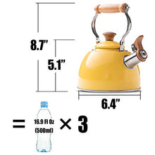 Load image into Gallery viewer, ROCKURWOK Tea Kettle Stovetop Whistling Teapot, Stainless Steel, 1.6-Quart Yellow