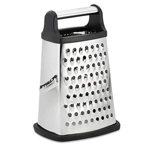 Professional Box Grater, Stainless Steel with 4 Sides, Best for Parmesan Cheese, Vegetables, Ginger, XL Size, Black - PHUNUZ