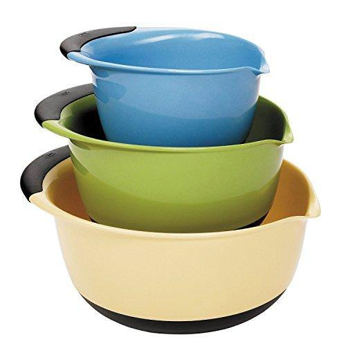 OXO Good Grips 3-piece Mixing Set, White Bowls Brown Handles, Blue/Green/Yellow - PHUNUZ