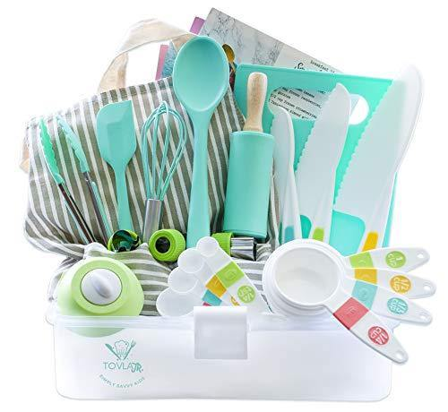 Tovla Jr. Kids Cooking and Baking Gift Set with Storage Case - Complete Cooking Supplies for the Junior Chef - Kids Baking Set for Girls & Boys - Real Accessories & Utensils for the Curious Child - PHUNUZ