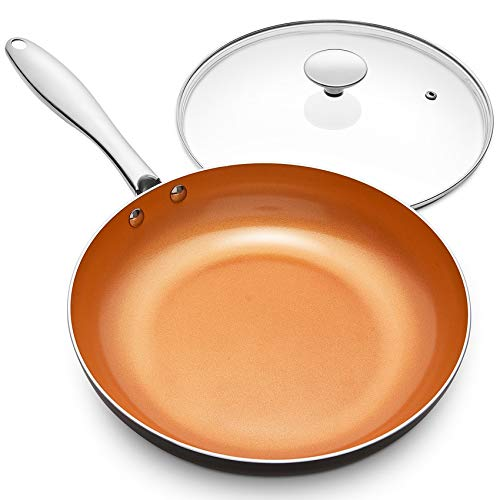 MICHELANGELO Frying Pan with Lid, Nonstick 8 Inch Frying Pan with Ceramic Titanium Coating, Copper Frying Pan with Lid, Small Frying Pan 8 Inch, Nonstick Frying Pans, Small Copper Skillet - 8 Inch