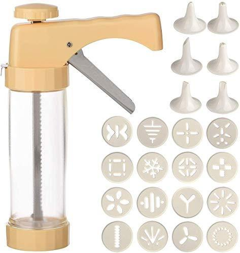 Cookie Press Gun Kit-Includes 16 Cookie dies Discs and 6 nozzle for DIY Biscuit Cake Cookie Making Yellow - PHUNUZ