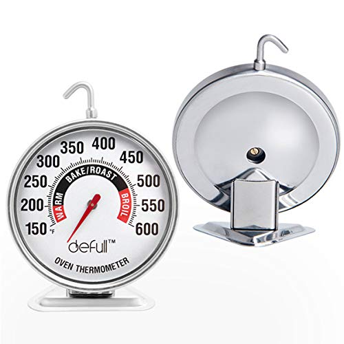 Extra Large Dial Oven Thermometer Clear Large Number Easy-to-Read Oven Thermometer with Hook and Panel Base Hang or Stand in Oven
