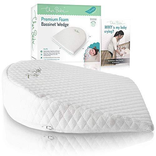 Cher Bébé Oval Bassinet Wedge Pillow for Acid Reflux | High Incline for Colic | Cotton & Waterproof Covers | Baby Sleep Positioner for 15