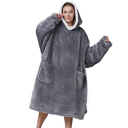 Eheyciga Blanket Hooded with Sleeves and Pocket- Soft Fleece Hoodie Blanket for Men & Women, Standard Size, Grey - PHUNUZ