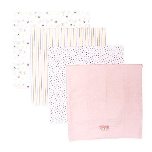 Spasilk Unisex Baby 4 Pack 100% Cotton Flannel Receiving Blanket — Baby Boy or Baby Girl Shower Gift, Pink Butteryfly - PHUNUZ