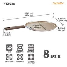Load image into Gallery viewer, CHEFMADE Crepe Pan with Bamboo Spreader, 8-Inch Non-stick Pancake Pan with Insulating Silicone Handle for Gas, Induction, Electric Cooker (Champagne Gold)