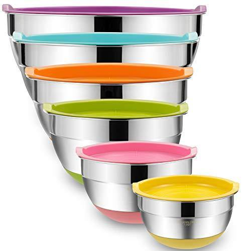 Mixing Bowls with Airtight Lids, 6 piece Stainless Steel Metal Bowls by Umite Chef, Colorful Non-Slip Bottoms Size 7, 3.5, 2.5, 2.0,1.5, 1QT, Great for Mixing & Serving - PHUNUZ