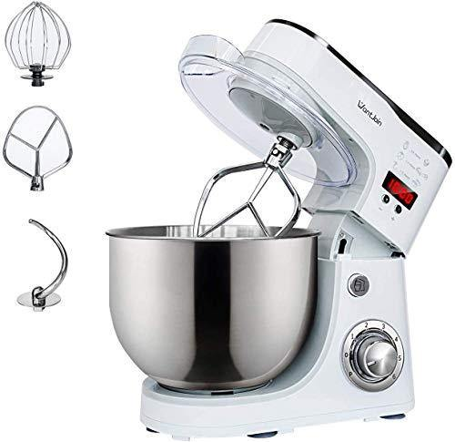 WantJoin Stand Mixer,Kneading Dough mixer with Timer,Digital display Professional Kitchen Electric Mixer 1000W With 5L barrel (white) - PHUNUZ