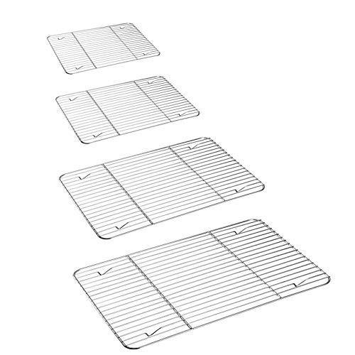 P&P CHEF Cooling Rack Set for Baking Cooking Roasting Oven Use, 4-Piece Stainless Steel Grill Racks, Fit Various Size Cookie Sheets - Oven & Dishwasher Safe - PHUNUZ