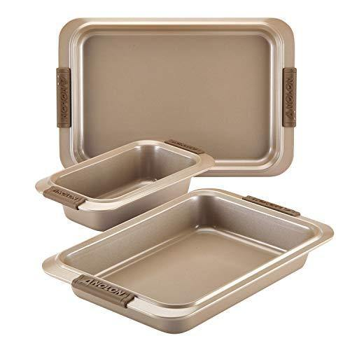 Anolon Advanced Nonstick Bakeware Set with Grips includes Nonstick Bread Pan, Cookie Sheet / Baking Sheet and Baking Pan - 3 Piece, Bronze Brown - PHUNUZ