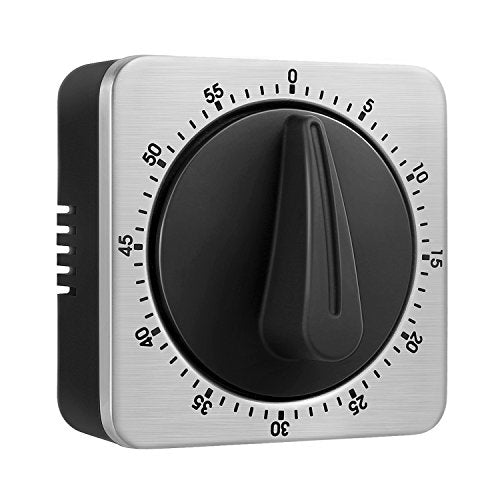 KeeQii Timer Kitchen Timer 60 Minute Timing with 80dB Alarm Sound Magnetic Countdown Timer Home Baking Cooking Steaming Manual Timer Stainless Steel Face Mechanical Timer (New Timer)