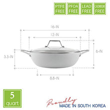 Load image into Gallery viewer, TECHEF - CeraTerra, 5 Qt / 12-in Ceramic Nonstick All Purpose Chef Pan with Cover, (PTFE and PFOA Free Ceramic Exterior & Interior), Oven & Dishwasher Safe, Made in Korea, Grey/Silver (5 Qt Chef Pan)
