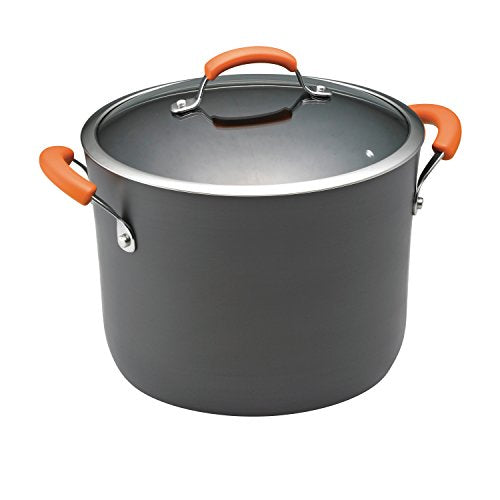 Rachael Ray Brights Hard Anodized Nonstick Stock Pot/Stockpot with Lid, 10 Quart, Gray with Orange Handles