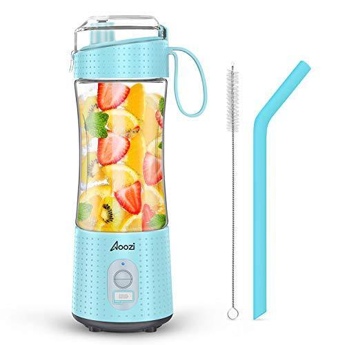 Portable Blender, Personal Size Blender Smoothies and Shakes, Mini Blender 4000mAh USB Rechargeable with Six Blades, Handheld Blender Sports,Travel,Gym (Blue) - PHUNUZ