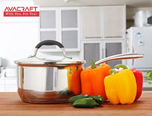 Load image into Gallery viewer, AVACRAFT Stainless Steel Saucepan with Glass Lid, Strainer Lid, Two Side Spouts for Easy Pour with Ergonomic Handle, Multipurpose Sauce Pan with Lid, Sauce Pot (Tri-Ply Capsule Bottom, 2.5 Quart)
