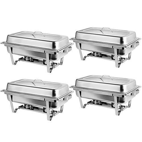 Rectangular Chafing Dish Full Size Chafer Dish Set 4 Pack of 8 Quart Stainless Steel Frame (4) - PHUNUZ