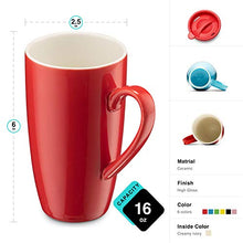 Load image into Gallery viewer, MITBAK 6-Pack Ceramic Coffee Mug Set with Lids (16-Ounce) | Large Colored Tumbler Mugs Great for Taking Your Coffee & Tea To-Go | Large Insulated Mug Set Excellent Choice for Camping, Travel & Office