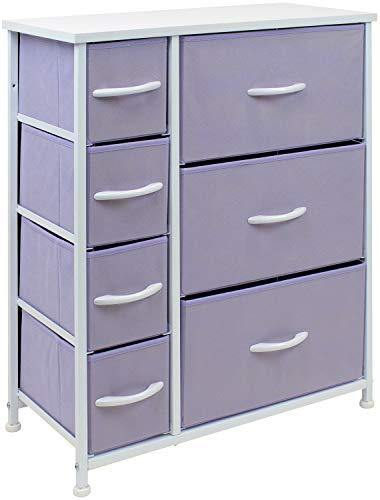 Sorbus Dresser with 7 Drawers - Furniture Storage Chest for Kid's, Teens, Bedroom, Nursery, Playroom, Clothes, Toys - Steel Frame, Wood Top, Fabric Bins (Pastel Purple) - PHUNUZ