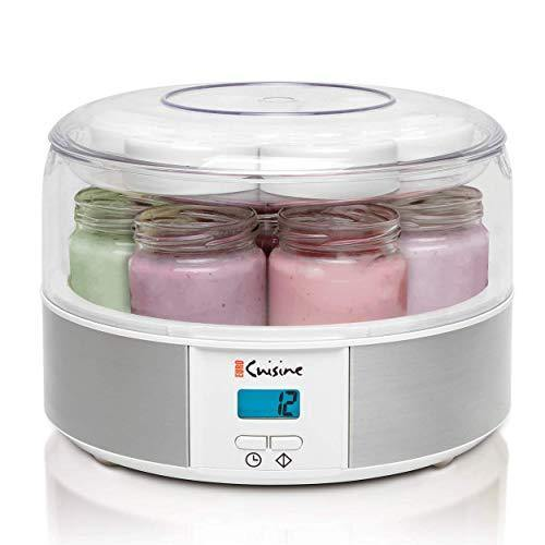 Euro Cuisine Yogurt Maker - YMX650 Automatic Digital Yogurt Maker Machine with Set Temperature - Includes 7-6 oz. Reusable Glass Jars and 7 Rotary Date Setting Lids for Instant Storage - PHUNUZ