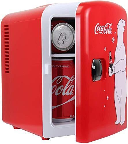 Coca-Cola New Red Polar Bear Portable 6 Can Thermoelectric Mini Fridge Cooler/Warmer, 4 L/4.2 Quarts Capacity, 12V DC/110V AC Plugs Included Great for Home, Dorm, Car, Boat, Beverages, Skincare, Cosmetics, Medication, ETL Listed - PHUNUZ