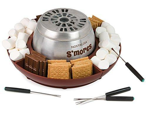 Nostalgia LSM400 Indoor Electric Stainless Steel S'mores Maker with 4 Lazy Susan Compartment Trays for Graham Crackers, Chocolate, Marshmallows and 4 Roasting Forks - PHUNUZ