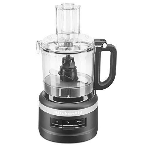 KitchenAid 7 Cup Working Bowl 3 Speed Food Processor for Chop, Pulse, and Puree, Black Matte (Certified Refurbished) - PHUNUZ
