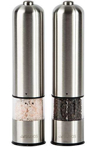 Electric Salt and Pepper Grinder Set - Automatic, Refillable, Battery Operated Stainless Steel Spice Mills with Light - One Handed Push Button Peppercorn Grinders and Sea Salt Mills - PHUNUZ