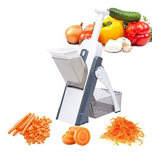 MYACE Mandoline Upright Safe Slicer Adjustable Thickness – Perfect Cuts, Chop, Dice For Vegetable, Potato & Fruits - Quick Easy Meal Preparation & Durable - 14 internal-blade safety design (Gray) - PHUNUZ
