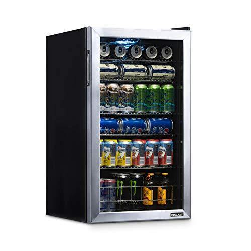 NewAir Beverage Refrigerator Cooler with 126 Can Capacity - Mini Bar Beer Fridge with Right Hinge Glass Door - Cools to 34F - AB-1200 - Stainless Steel - PHUNUZ