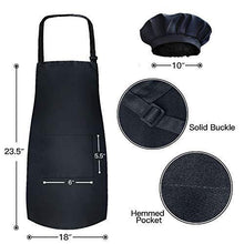 Load image into Gallery viewer, Novelty Place Kid's Apron with Chef Hat Set (3 Set) - Skin-Friendly Children's Bib with Pocket - Cooking, Baking, Painting, Training Wear - Kid's Size (6-12 Year, Black) - PHUNUZ