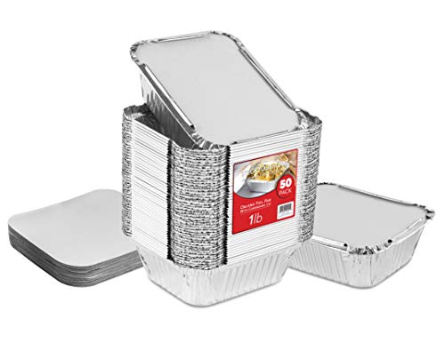 Aluminum Pans Take Out Containers (50 Pack) 50 Foil Oblong Pans and 50 Cardboard Lids - 1 Lb Tin Pans - Disposable Food Storage Containers for Cooking, Baking and Meal Prep