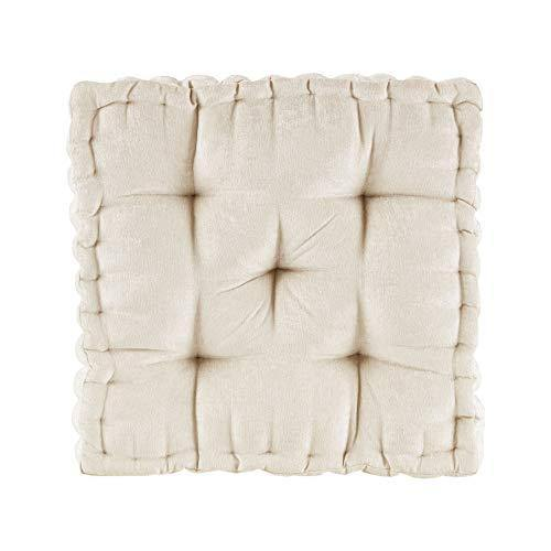 "Intelligent Design Azza Floor Pillow Square Pouf Chenille Tufted with Scalloped Edge Design Hypoallergenic Bench/Chair Cushion, 20"" x 20"" x 5"", Ivory - PHUNUZ"