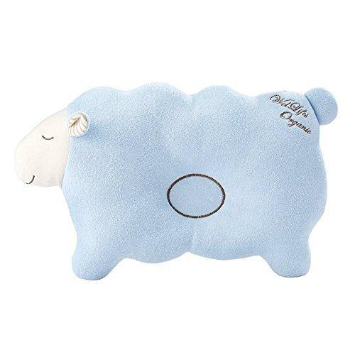 Baby Pillow for Newborn Organic Cotton, Protection for Flat Head Syndrome Lamb Blue - PHUNUZ