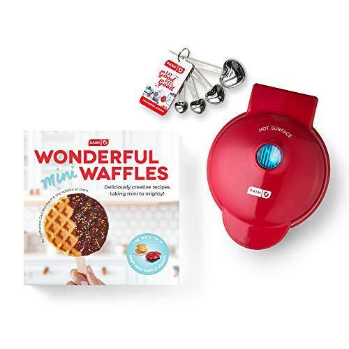 Dash DMWGS001RD Machine for Individual, Paninis, Hash Browns, & other Mini waffle maker, 4 inch, Red Gift Set - PHUNUZ